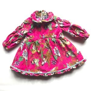 Oilily Cotton Velour Ruffle Dress Pink Holiday